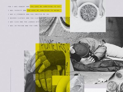 Free Community Dinner collage dinner serve food photography purple yellow homelessness homeless collage