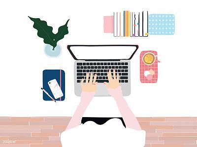 Workspace - Women people hands topview working startup laptop women workspace illutration vector flatlay