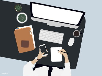 Workspace - Men workspace working men vector topview startup people laptop illutration hands flatlay