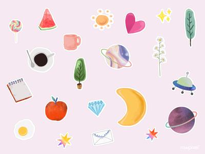 Set of cute watercolor doodle vector cute vector illustration design heart