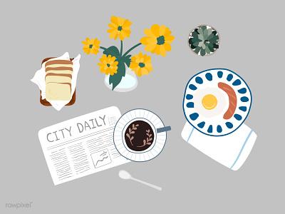 Flatlay breakfast sticker doodle vector hand drawn doodle daily life breakfast stickers flatlay design vector illustration