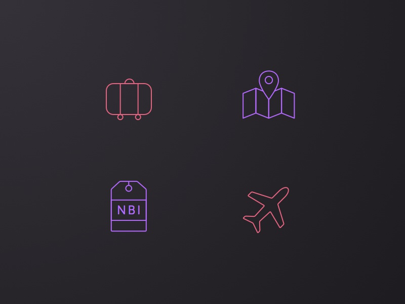NDC2014 - Icon Set ui ux interface app icon plane suitcase map ticket travel gradient ndc2014