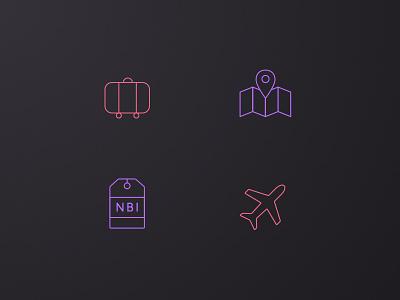 NDC2014 - Icon Set ui ux interface app icon plane suitcase map ticket travel gradient ndc2014
