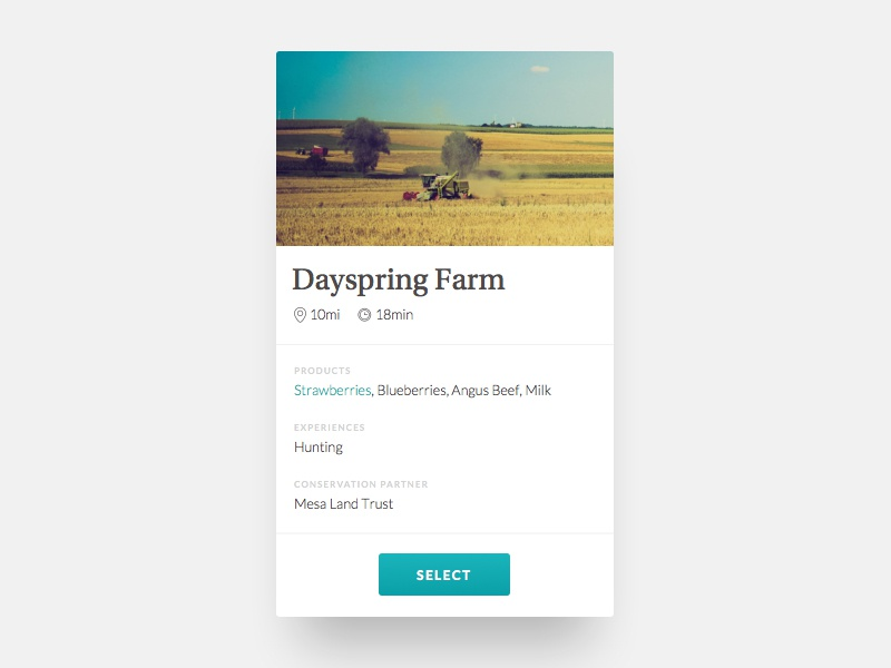Property Card conserved local food farm interface card ui