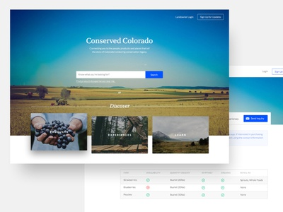 Discover app web ux ui colorado conserved landing page learn experiences products discover search