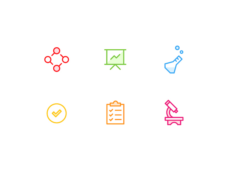 Process Icons research process line illustration design icon