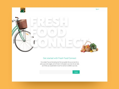 Fresh Food Connect web design typography marketing landing page