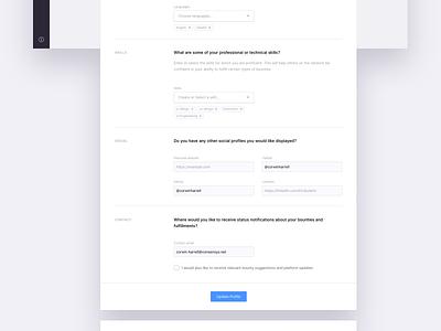 Account Settings form elements form design web app ux ui
