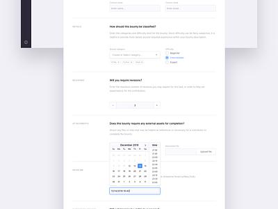 Create Bounty form elements form design web ux app ui