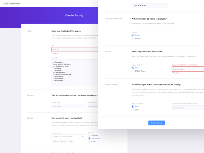 Create Bounty form elements form design web ux app ui