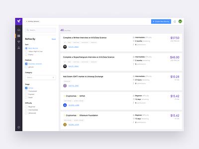 Bounties Explorer cards ethereum filter explorer blockchain web ux app ui