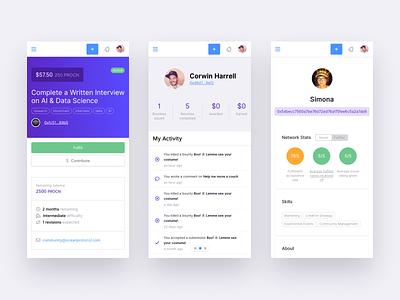 Bounties Network Responsive Views responsive bounties ethereum blockchain profile dashboard mobile ux app ui