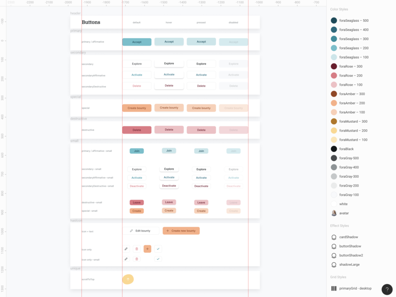 Button Component color palette figma component library design system button app web ui