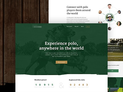 Polo community network interface wood green polo clean app web ui flat