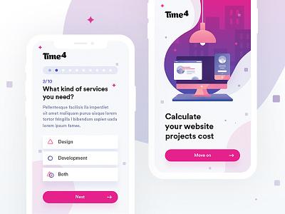 Website calculator pink logo webdesign network design app ux clean interface flat web ui