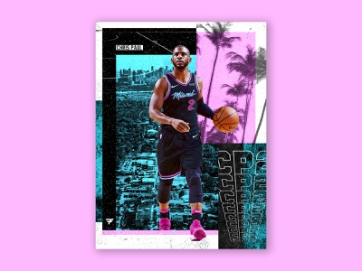 Chris Paul collage cp3 heat miami heat miami blue pink poster nba poster basketball chris paul nba space typography logo layout design