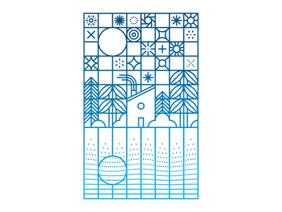 California Stars illustration split fountain letterpress