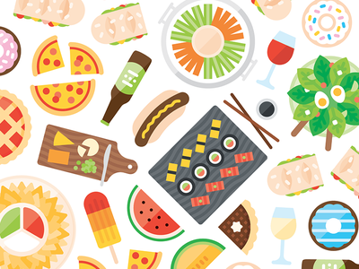 Food & Drink beer donuts hungry salad wine cheeseboard sushi illustration