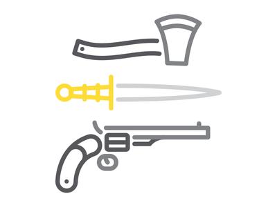 Choose Yer Weapons axe dagger gun illustration monoline