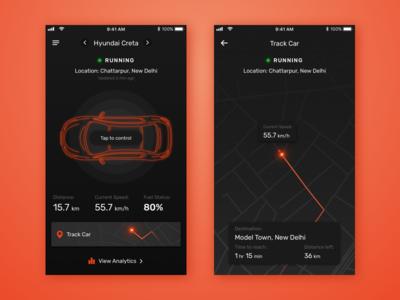 Car Control & Tracker ux ui location theme dark application app iphone tracker track control car