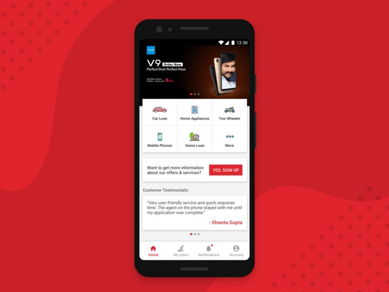 Loan App - Home Screen Concept loan design mobile app mobile app android application ux ui