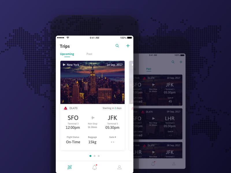 Upcoming & past flights concept flight flight app iphone design ios mobile app mobile app ux application ui