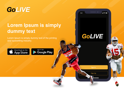 GoLIVE Sports Web Page playstore appstore header xd layout adobe xd sports web live games golive basketball sports web layout web design