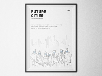 Dystopian Future Cities - Smart, Modern & Masked minimalism poster illustration save earth air pollution beijing china new delhi india mask future cities dystopia