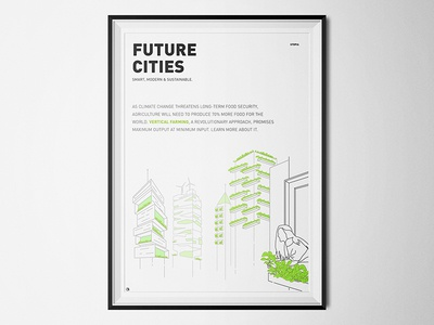 Utopian Future Cities - Smart, Modern & Sustainable minimalism poster illustration earth day save earth vertical farming future cities sustainable utopia