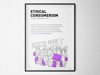 Ethical Consumerism - Consumer Responsibilities minimalism poster lineart illustration megatrend future world environmental degradation make a difference social patterns ethical consumerism