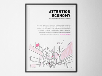 Attention Economy - Wealth of Information, Poverty of Attention dynamic storytelling proximity marketing megatrend future cities poster line art data bombard information burden attention economy