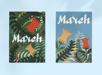 March spring flower illustration calligraphy flat illustrations typography illustration digital art