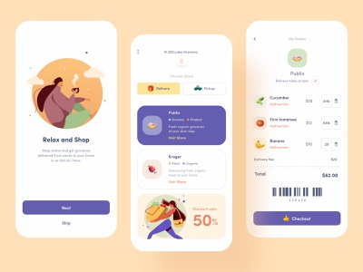 Grocery Delivery App UI ecommerce card grocery app grocery meal service delivery app ui mobile app design food online shop product order clean minimal ios illustration design delivery app