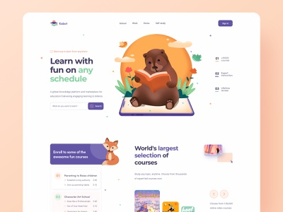 Online Education Platform children read reading book dashboad web design education learning platform learning interface student platform education app education website card clean design website landing page illustration