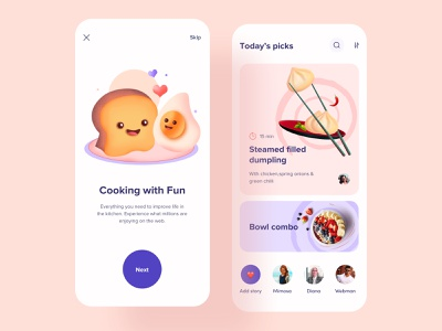 Recipe Sharing App UI onboarding service learning app ui  ux restaurant social media share cooking app cook food app food ios minimal design card clean mobile app design app recipe recipe book