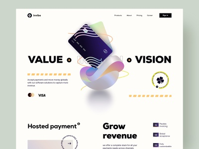 Financial SaaS product marketing platform software card fintech web 3d ui layout minimal clean design homepage design landing page saas service finance website webdesign