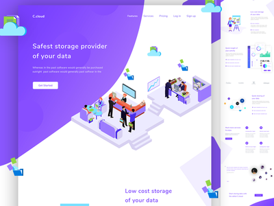 Cloud Storage Landing Page google drive cloud storage illustration web ux ui saas storage docs collaboration files cloud