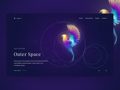 Space ( Creative Header Exploration) outer space web ui sun timeline universe star space planets meteor illustration gradients