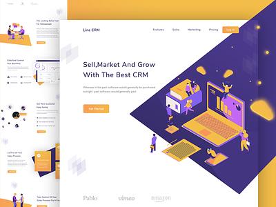 CRM Landing Page landing page web ux ui sales saas marketing illustration dashboard crm charts analytics