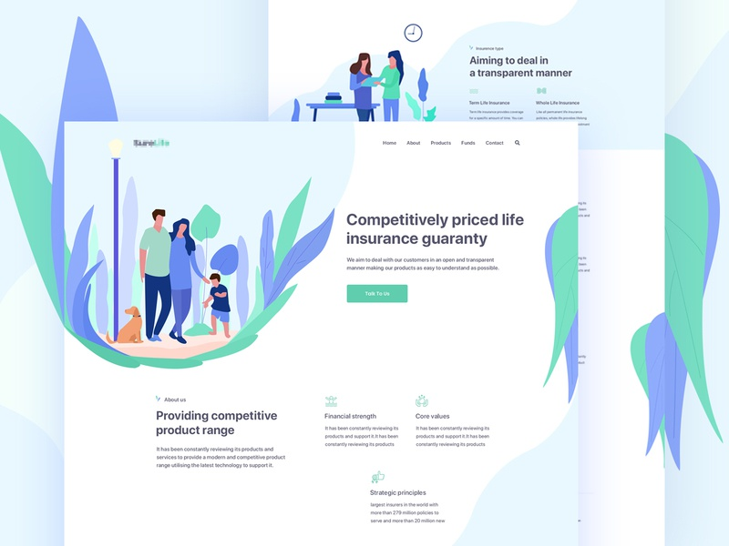 Insurance Landing Page gradient google typogaphy best design ui dashboard modern website colorful design trend 2018 landing page ux design uidesign identity crypto website cryptocurrency illustration food delivery website doctor app medical insurance company insurance