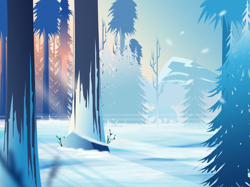 Winter Lights-Illustration crypto currency 2018 trends best design 3d art game animation unity unity artist nature illustration winter game asset game app game art environment design game landscape illustrator ui vector new trend illustration