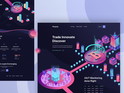 Cryptocurrency Trading Website 3d bitcoin blockchain ux design webapplication dashboard best design 2018 trends website new trend landing page ui illustration cryptocurrency investments cryptocurrency advisor crypto exchange crypto wallet crypto trading cryptocoin cryptocurrency