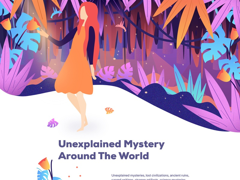 Mysteries Around The World environment design wild nature webapplication home page illustration ux 2018 trends vector cryptocurrency new trend best design web ui landing page hero image illustration character design flat illustration forest illustrator illustration