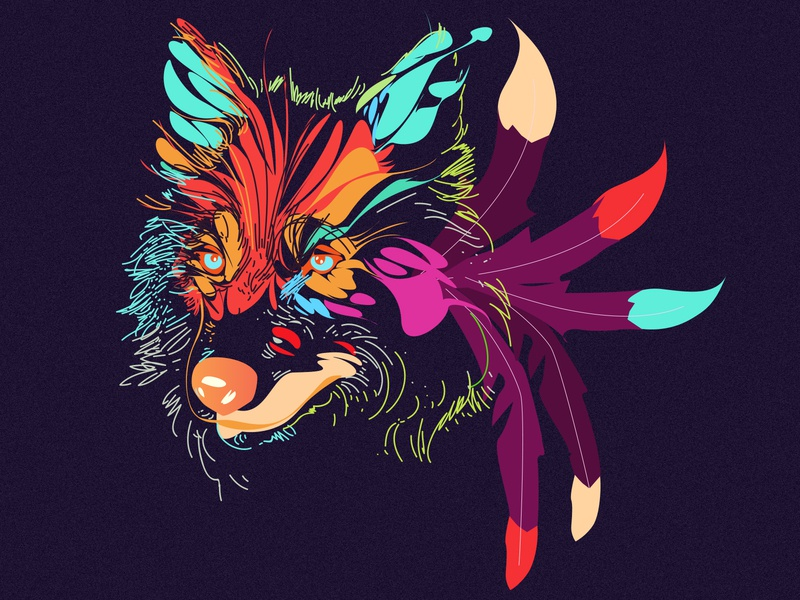 Wolf_Illustration hero image vibrant color illustration creative  design doodle illustrator gradient best design new trend vector vector artwork branding icon character flat dark wolf colorful design colorful art colorful illustration
