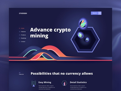 Cryptocurrency Landing Page agency website dark website trend 2019 blockchaintechnology webapplication dashbaord ico ethereum bitcoin blockchain crypto exchange crypto trading crypto wallet 3d website cryptocurrency best design new trend landing page illustration