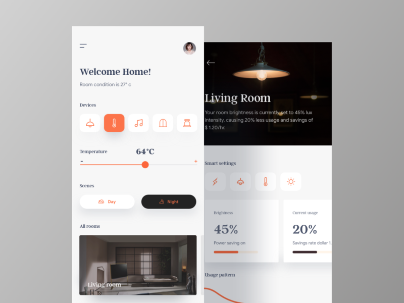 Smart Home App ui  ux design trend 2019 typography new trend ux clean app settings app branding minimalist design home app dashboard design dailyui controller app design ios ui smart home mobile app design application app