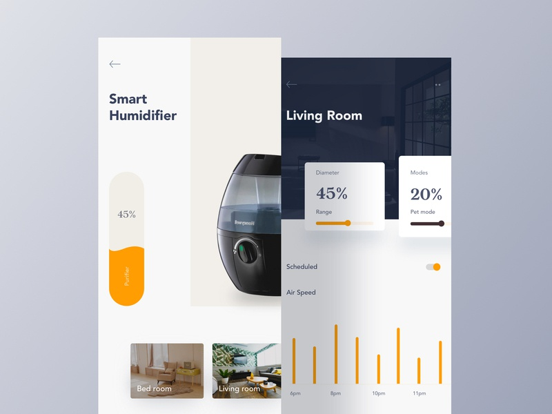 Smart Home App trend 2019 micro interaction typography ui  ux design new trend settings mobile app design card clean app design minimalist design ios dashboard design dailyui controller app design home app smart home application design app branding app