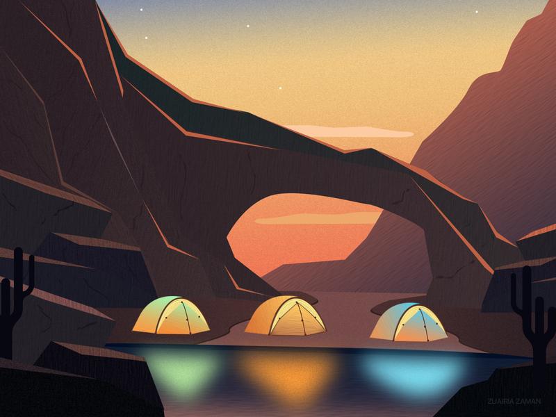 Camping outdoor lighting travel illustration adventure nature illustration dark vector artwork environment design environment art game design game art landscape illustration branding vector mountain hiking fireworks desert camping illustration