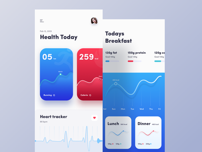 Fitness Tracker App habit tracker blood pressure diet app chart calender statistics design flat  design card app mobile app design doctor app bold design ui ux design ios lifestyle medical app health app fitness app activity tracker
