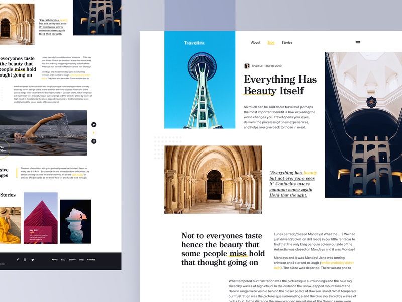 Magazine Article Page ecommerce website layout typography weather header news portal photography website ui  ux design website landing page travel website card clean minimal architectural blog fashion blog article page category page travel blog blog
